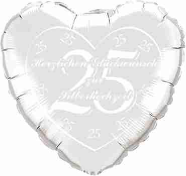 herzlichen glückwunsch zur silberhochzeit metallic silver w/white ink foil heart 18in/45cm