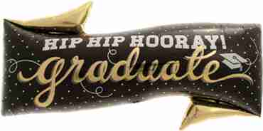 hip hip hooray grad foil shape 31in/79cm