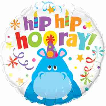 hip hip hooray hippo foil round 18in/45cm