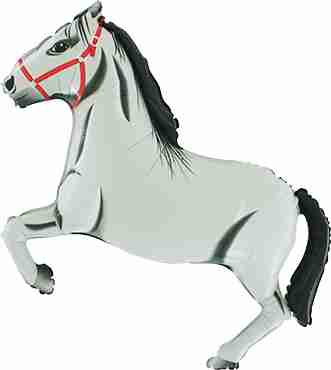 Horse White Foil Shape 36in/90cm