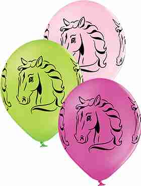Horses Pastel Apple Green, Pastel Pink and Pastel Rose Assortment Latex Round 12in/30cm