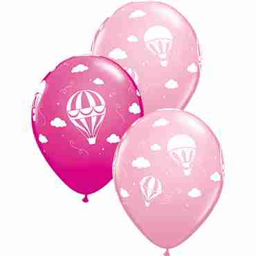 Hot Air Balloons Fashion Pink and Fashion Wild Berry Assortment Latex Round 11in/27.5cm