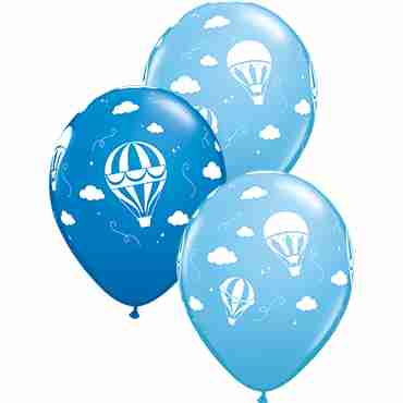 Hot Air Balloons Standard Dark Blue and Standard Pale Blue Assortment Latex Round 11in/27.5cm