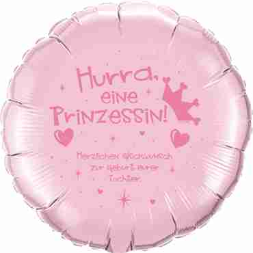hurra eine prinzessin! herzlichen glückwunsch zur geburt eurer tochter pearl pink w/pink ink foil round 18in/45cm