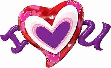 I (Heart) U Radiant Hearts Foil Shape 46in/117cm