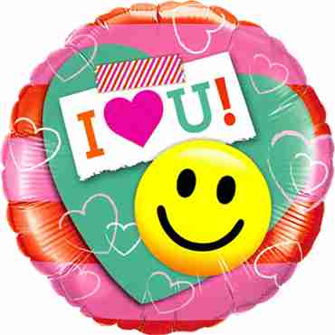 I (Heart) U! Smile Face Foil Round 18in/45cm