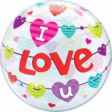 I Love U Banner Hearts Single Bubble 22in/50cm
