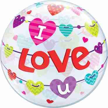 I Love U Banner Hearts Single Bubble 22in/50cm