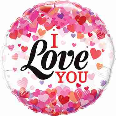 I Love You Confetti Hearts Foil Round 9in/22.5cm