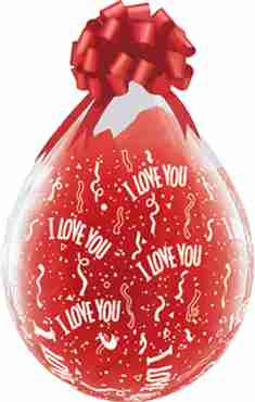 I Love You Crystal Diamond Clear (Transparent) Latex Round 18in/45cm