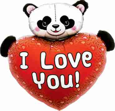 I Love You Heart Panda Foil Shape 36in/91cm