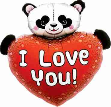 I Love You Heart Panda Foil Shape 36in/91cm