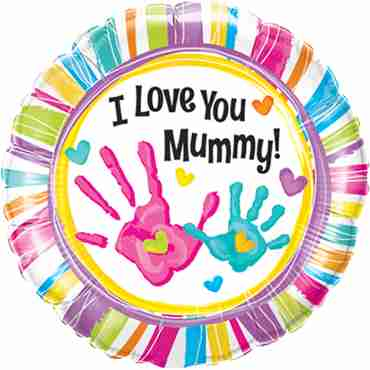 I Love You Mummy Handprints Foil Round 18in/45cm