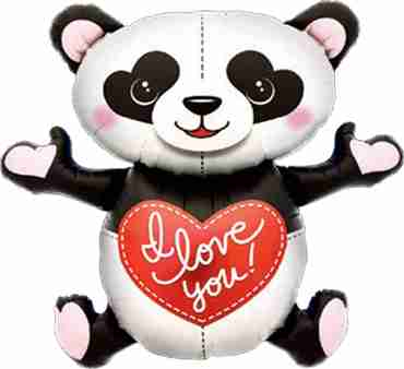 I Love You Panda Foil Shape 43in/109cm