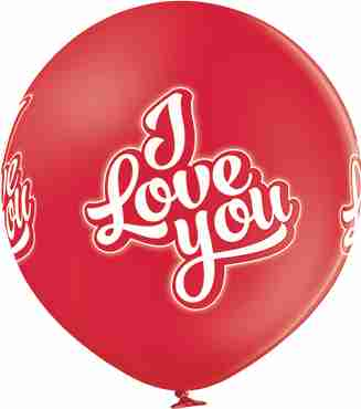 I Love You Pastel Red Latex Round 24in/60cm