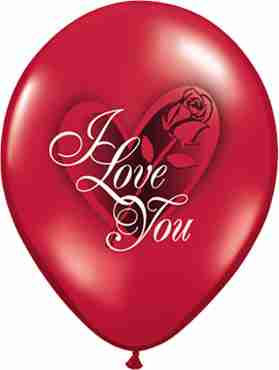 I Love You Red Rose Crystal Ruby Red (Transparent) Latex Round 11in/27.5cm