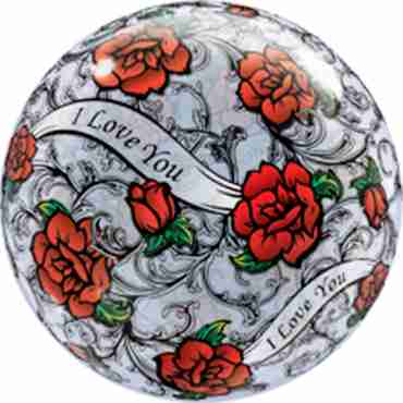 I Love You Red Rose Filigree Single Bubble 22in/55cm