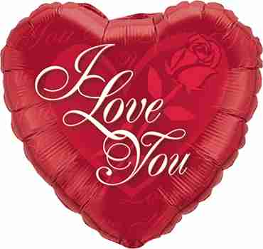 I Love You Red Rose Foil Heart 18in/45cm