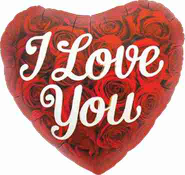 I Love You Roses Foil Heart 18in/45cm