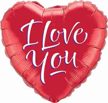 I Love You Script Modern Foil Heart 9in/22.5cm