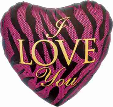 I Love You Zebra Foil Heart 18in/45cm