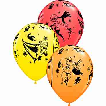 Incredibles 2 Standard Red, Standard Yellow and Standard Orange Assortment Latex Round 11in/27.5cm