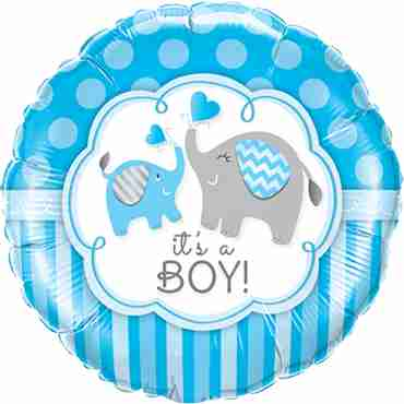 its a boy elephants foil round 18in/45cm