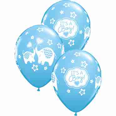 Its A Boy Elephants Standard Pale Blue Latex Round 11in/27.5cm