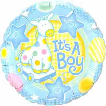 It's A Boy Soft Giraffe Foil Round 9in/22.5cm