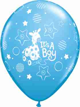 its a boy soft giraffe standard pale blue latex round 11in/27.5cm