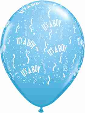 It's A Boy Standard Pale Blue Latex Round 11in/27.5cm