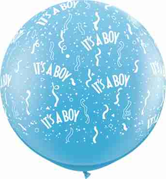 It's A Boy Standard Pale Blue Latex Round 36in/90cm