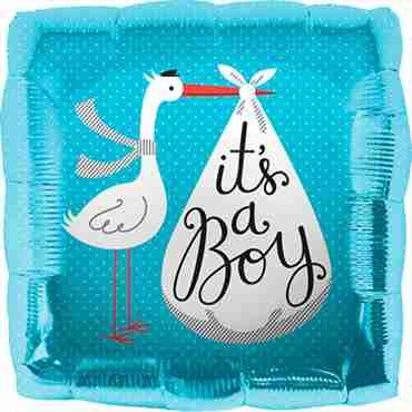 Its A Boy Stork Foil Square 18in/45cm