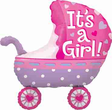 Its A Girl Baby Stroller Foil Shape 35in/87.5cm