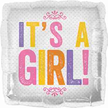 It's a Girl Block Letters Foil Square 18in/45cm