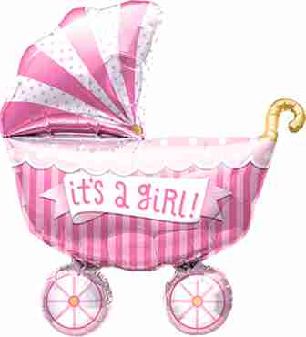 It's A Girl Buggy Foil Shape 14in/36cm