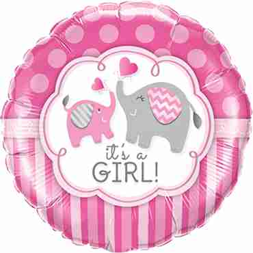 its a girl elephants foil round 18in/45cm