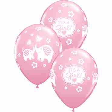 its a girl elephants standard pink latex round 11in/27.5cm