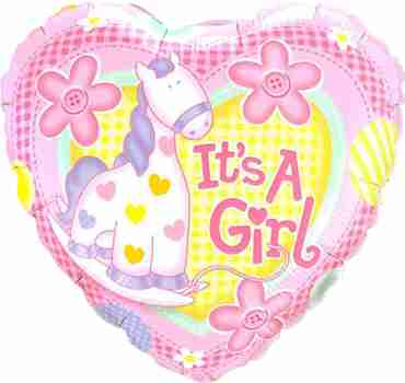 It's A Girl Soft Pony Foil Heart 9in/22.5cm