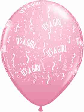 It's A Girl Standard Pink Latex Round 11in/27.5cm