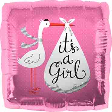 its a girl stork foil square 18in/45cm