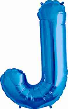 J Blue Foil Letter 16in/40cm
