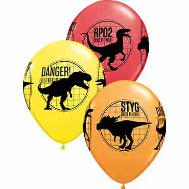 Jurassic World: Fallen Kingdom Standard Red, Standard Yellow and Standard Orange Assortment Latex Round 11in/27.5cm