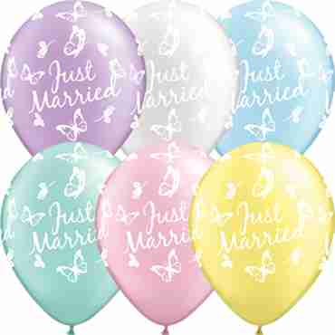 Just Married Butterflies Pearl Mint Green, Pearl Lavender, Pearl Pink, Pearl Light Blue, Pearl White and Pearl Lemon Chiffon Assortment Latex Round 16in/40cm