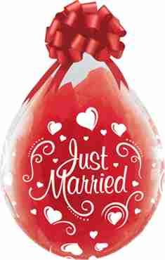 just married hearts crystal diamond clear (transparent) latex round 18in/45cm