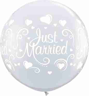 Just Married Hearts Crystal Diamond Clear (Transparent) Latex Round 36in/90cm