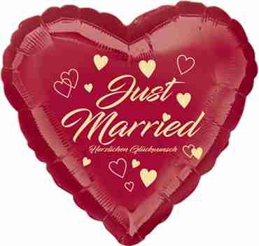 just married herzlichen glückwunsch dark metallic burgundy w/ivory ink foil heart 17in/43cm