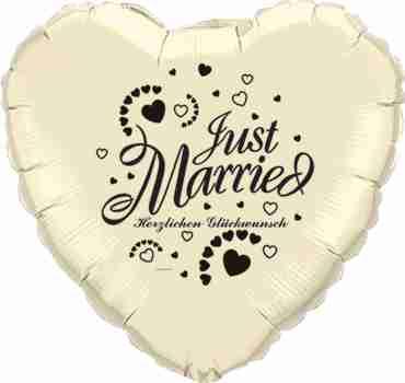 just married herzlichen glückwunsch ivory w/black ink foil heart 18in/45cm
