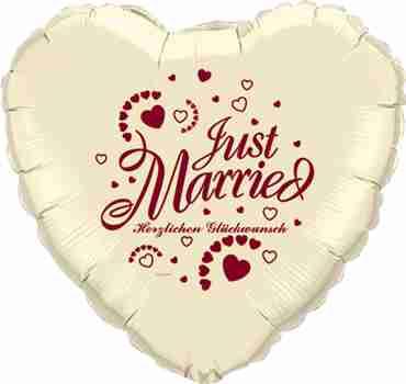 just married herzlichen glückwunsch ivory w/burgundy ink foil heart 18in/45cm