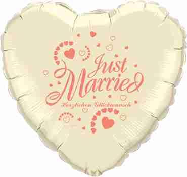 just married herzlichen glückwunsch ivory w/coral ink foil heart 18in/45cm